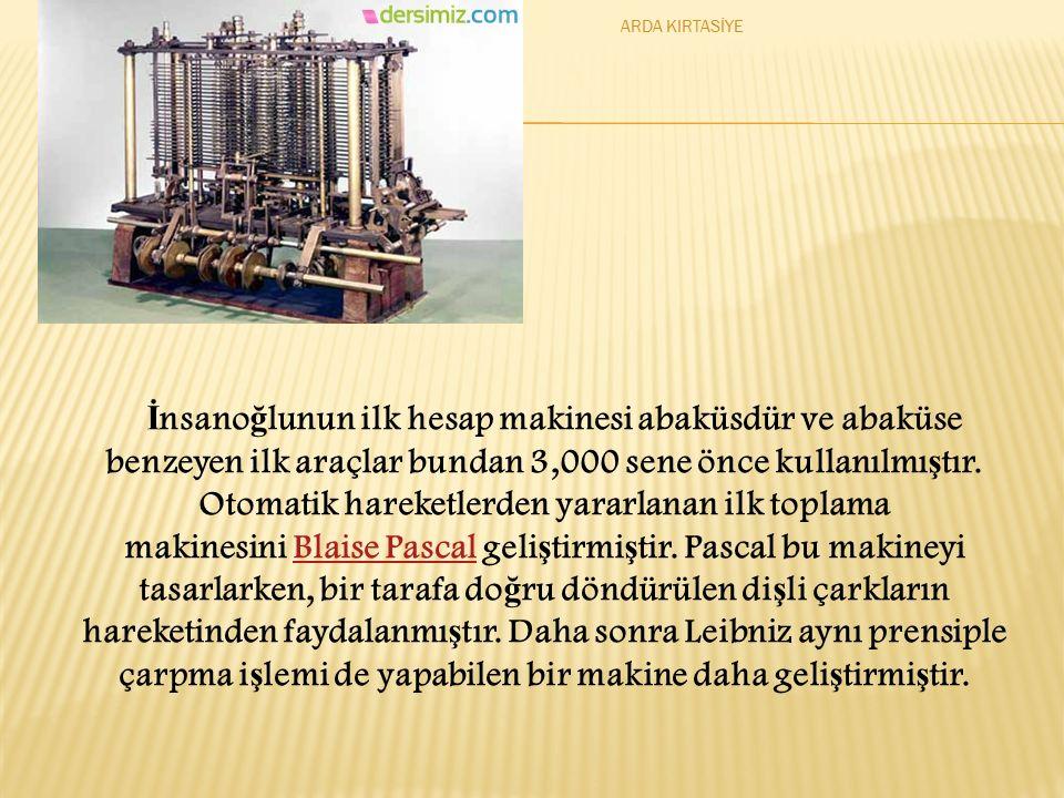 İ nsano ğ lunun ilk hesap makinesi abaküsdür ve abaküse benzeyen ilk araçlar bundan 3,000 sene önce kullanılmı ş tır.