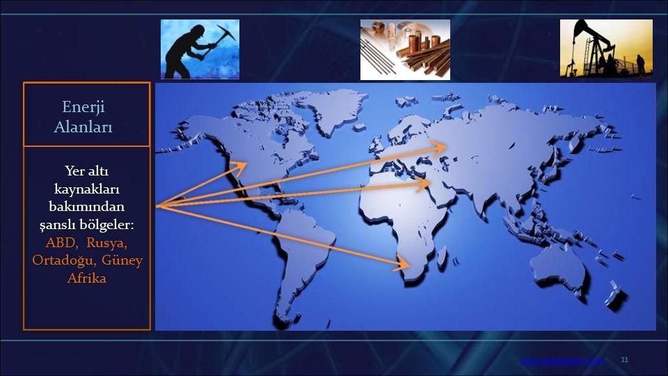 11 Yer altı kaynakları bakımından şanslı bölgeler: ABD, Rusya, Ortadoğu, Güney Afrika Enerji Alanları www.slaytyerim.com