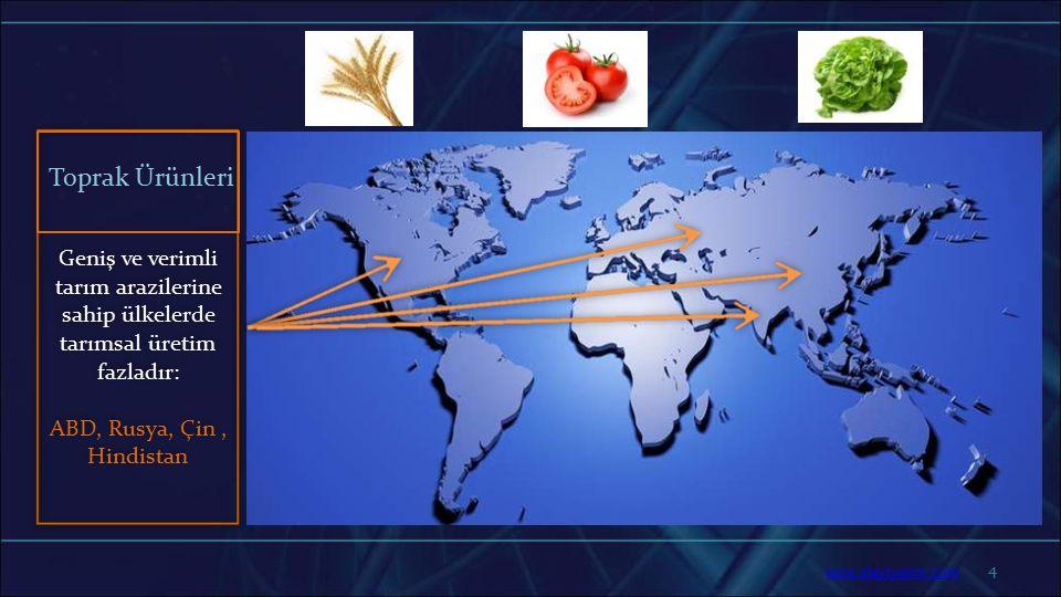 4 Geniş ve verimli tarım arazilerine sahip ülkelerde tarımsal üretim fazladır: ABD, Rusya, Çin, Hindistan Toprak Ürünleri www.slaytyerim.com