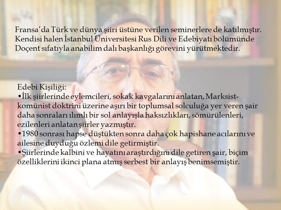 Fransa'da Türk ve dünya şiiri üstüne verilen seminerlere de katılmıştır. Kendisi halen İstanbul Üniversitesi Rus Dili ve Edebiyatı bölümünde Doçent sı