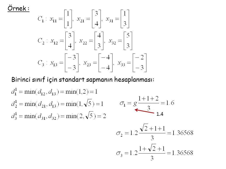 Örnek : Birinci sınıf için standart sapmanın hesaplanması: 1.4