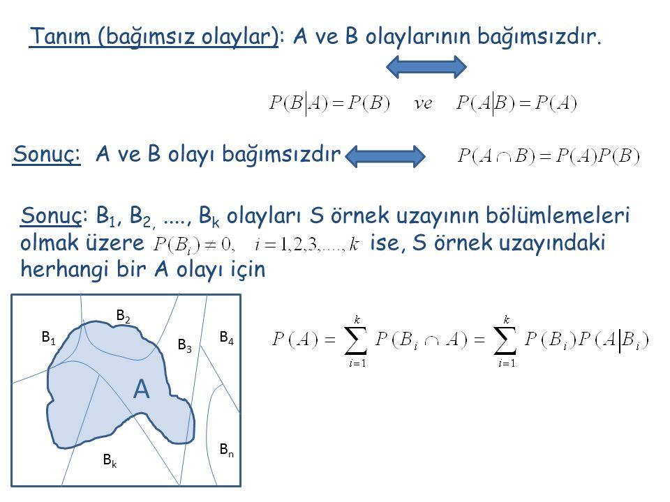 Tanım (bağımsız olaylar): A ve B olaylarının bağımsızdır. Sonuç: A ve B olayı bağımsızdır Sonuç: B 1, B 2,...., B k olayları S örnek uzayının bölümlem