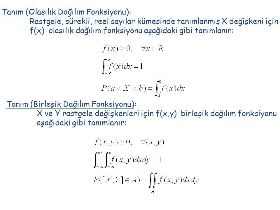 Tanım (Olasılık Dağılım Fonksiyonu): Rastgele, sürekli, reel sayılar kümesinde tanımlanmış X değişkeni için f(x) olasılık dağılım fonksiyonu aşağıdaki gibi tanımlanır: Tanım (Birleşik Dağılım Fonksiyonu): X ve Y rastgele değişkenleri için f(x,y) birleşik dağılım fonksiyonu aşağıdaki gibi tanımlanır: