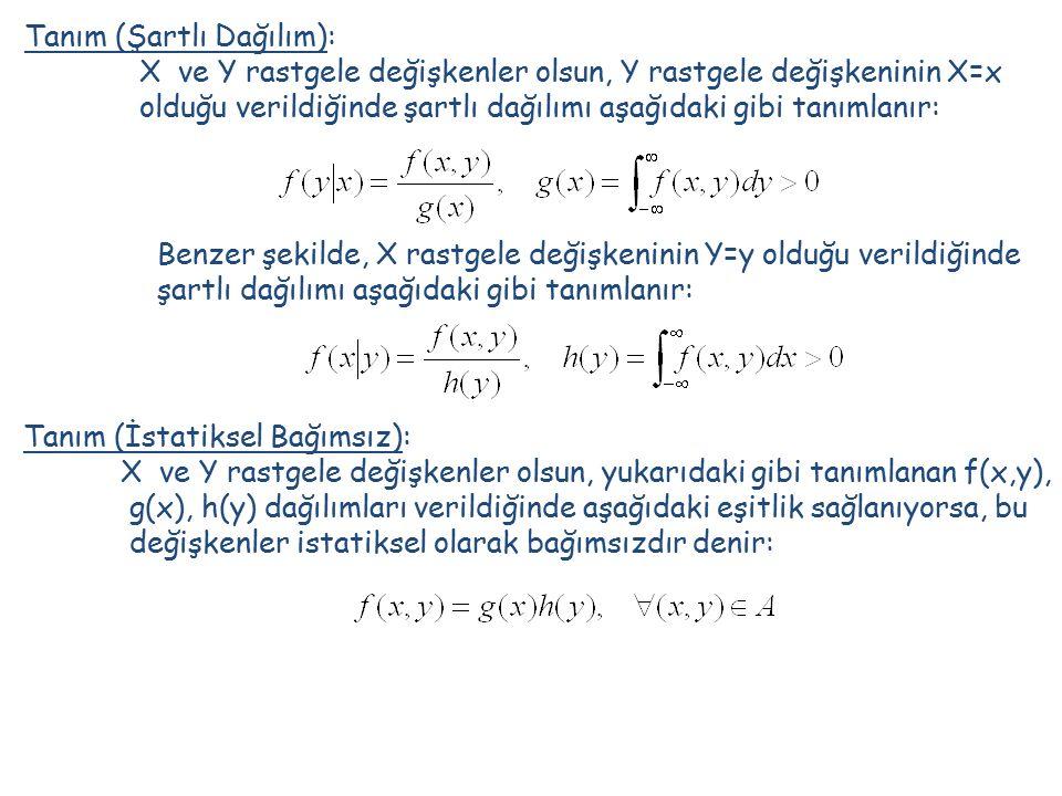Tanım (Şartlı Dağılım): X ve Y rastgele değişkenler olsun, Y rastgele değişkeninin X=x olduğu verildiğinde şartlı dağılımı aşağıdaki gibi tanımlanır: