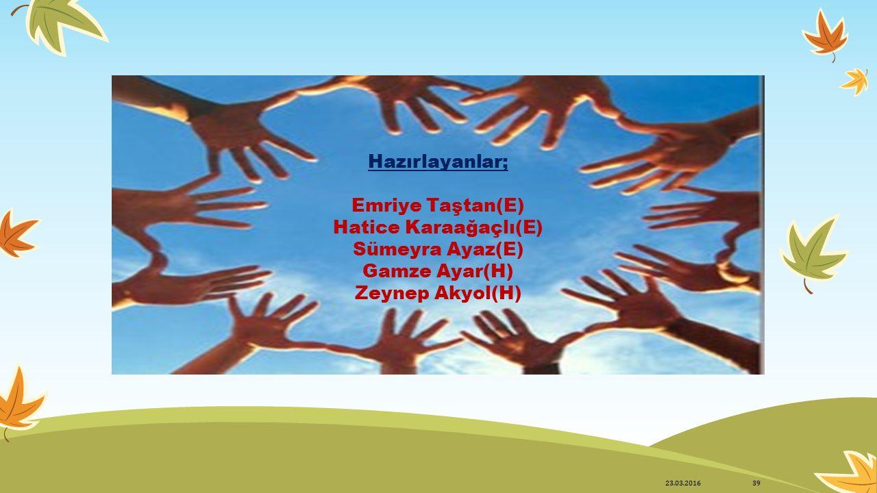 Hazırlayanlar; Emriye Taştan(E) Hatice Karaağaçlı(E) Sümeyra Ayaz(E) Gamze Ayar(H) Zeynep Akyol(H) 23.03.201639