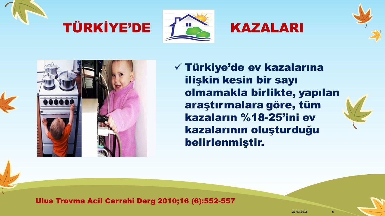 TÜRKİYE'DEKAZALARI Türkiye'de ev kazalarına ilişkin kesin bir sayı olmamakla birlikte, yapılan araştırmalara göre, tüm kazaların %18-25'ini ev kazalar