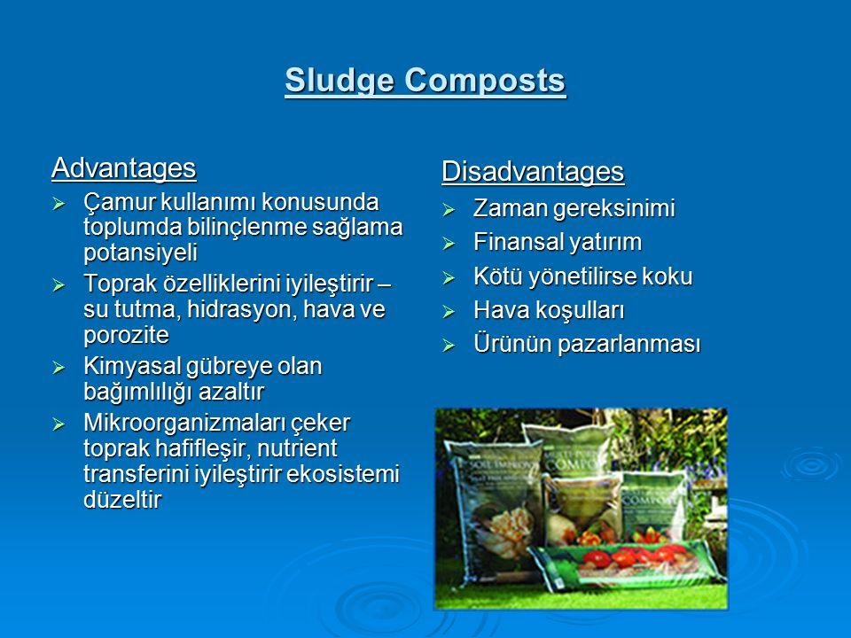 Sludge Composts Advantages  Çamur kullanımı konusunda toplumda bilinçlenme sağlama potansiyeli  Toprak özelliklerini iyileştirir – su tutma, hidrasyon, hava ve porozite  Kimyasal gübreye olan bağımlılığı azaltır  Mikroorganizmaları çeker toprak hafifleşir, nutrient transferini iyileştirir ekosistemi düzeltir Disadvantages  Zaman gereksinimi  Finansal yatırım  Kötü yönetilirse koku  Hava koşulları  Ürünün pazarlanması