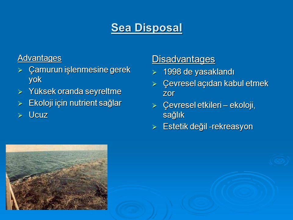 Sea Disposal Advantages  Çamurun işlenmesine gerek yok  Yüksek oranda seyreltme  Ekoloji için nutrient sağlar  Ucuz Disadvantages  1998 de yasaklandı  Çevresel açıdan kabul etmek zor  Çevresel etkileri – ekoloji, sağlık  Estetik değil -rekreasyon