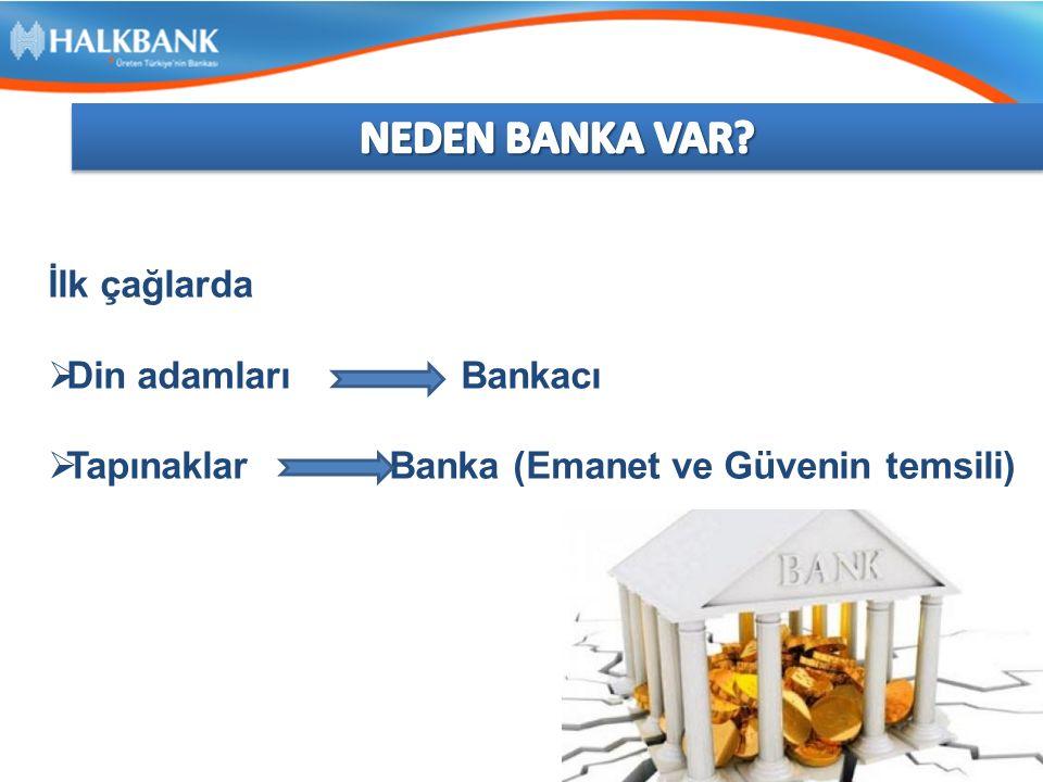 İlk çağlarda  Din adamları Bankacı  Tapınaklar Banka (Emanet ve Güvenin temsili)