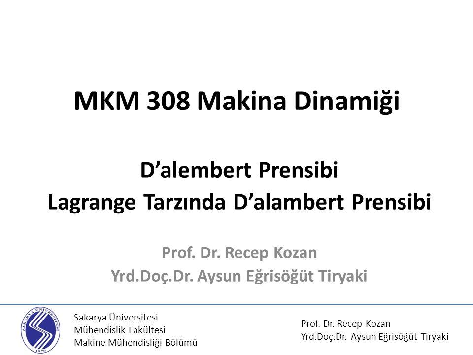 MKM 308 Makina Dinamiği D'alembert Prensibi Lagrange Tarzında D'alambert Prensibi Prof.