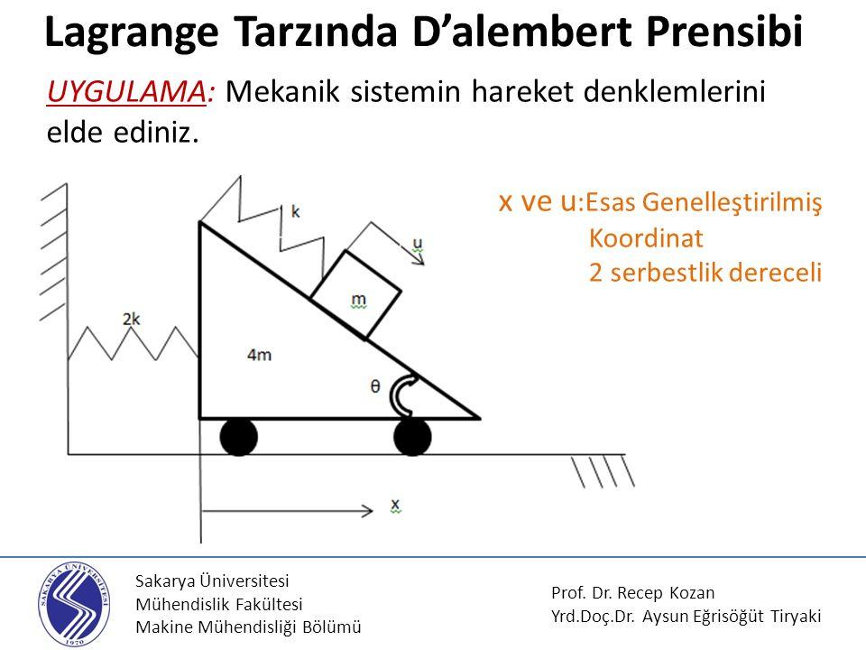 Sakarya Üniversitesi Mühendislik Fakültesi Makine Mühendisliği Bölümü Lagrange Tarzında D'alembert Prensibi Prof.