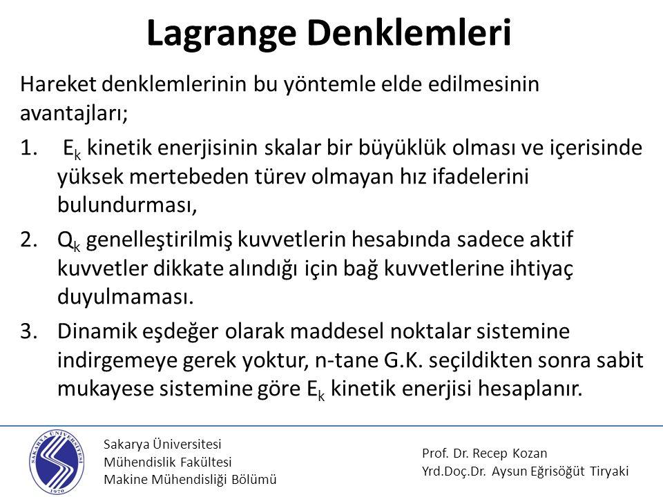 Sakarya Üniversitesi Mühendislik Fakültesi Makine Mühendisliği Bölümü Lagrange Denklemleri Prof. Dr. Recep Kozan Yrd.Doç.Dr. Aysun Eğrisöğüt Tiryaki H