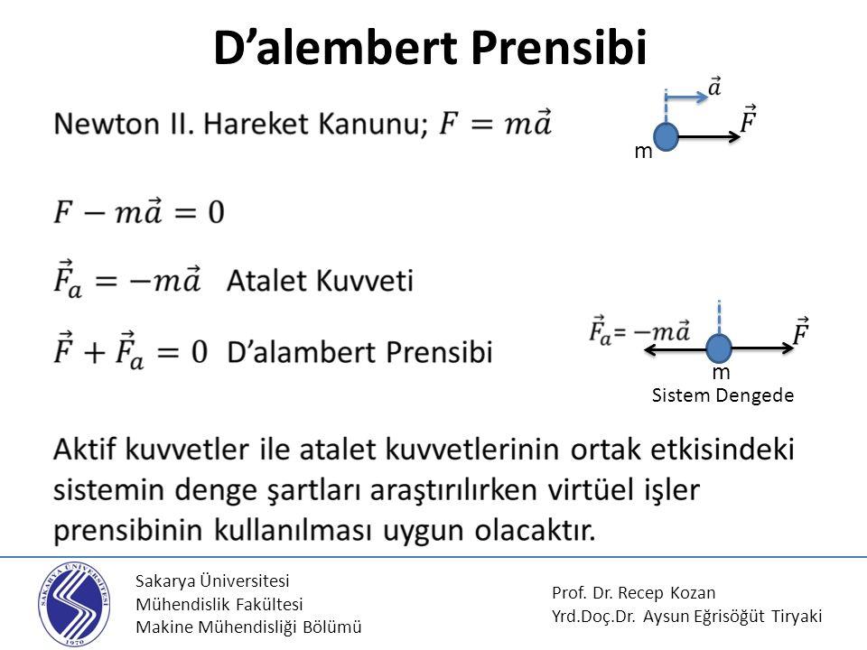 Sakarya Üniversitesi Mühendislik Fakültesi Makine Mühendisliği Bölümü D'alembert Prensibi Prof.