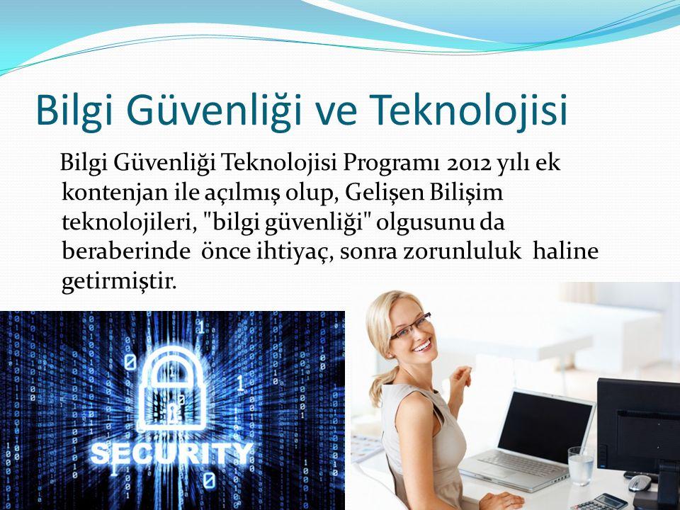 Bilgi Güvenliği ve Teknolojisi Bilgi Güvenliği Teknolojisi Programı 2012 yılı ek kontenjan ile açılmış olup, Gelişen Bilişim teknolojileri, bilgi güvenliği olgusunu da beraberinde önce ihtiyaç, sonra zorunluluk haline getirmiştir.