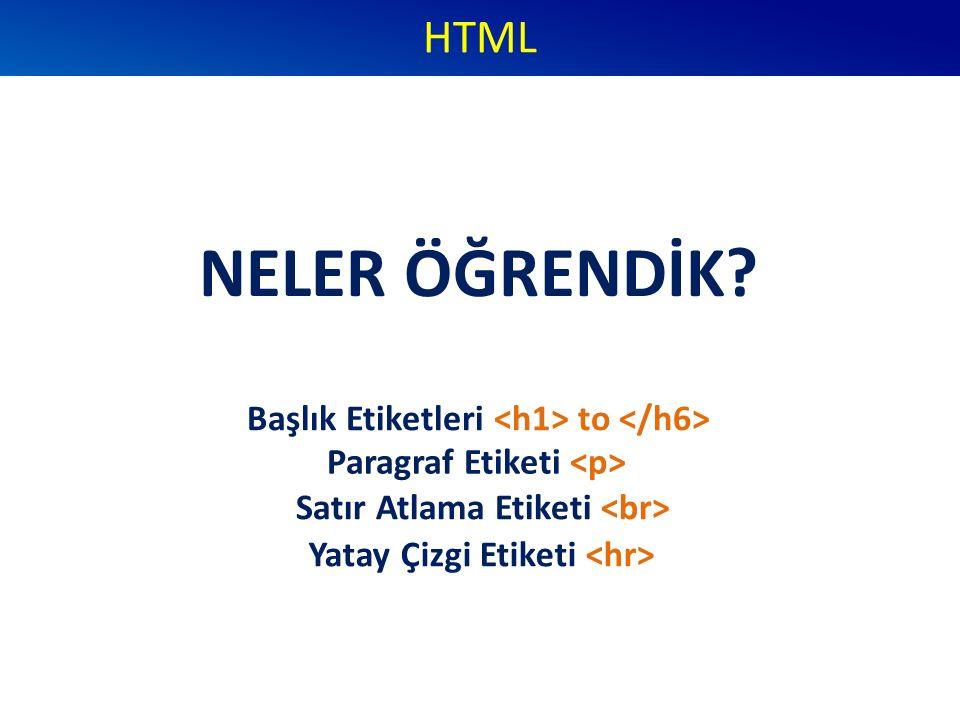 NELER ÖĞRENDİK? HTML Başlık Etiketleri to Paragraf Etiketi Satır Atlama Etiketi Yatay Çizgi Etiketi
