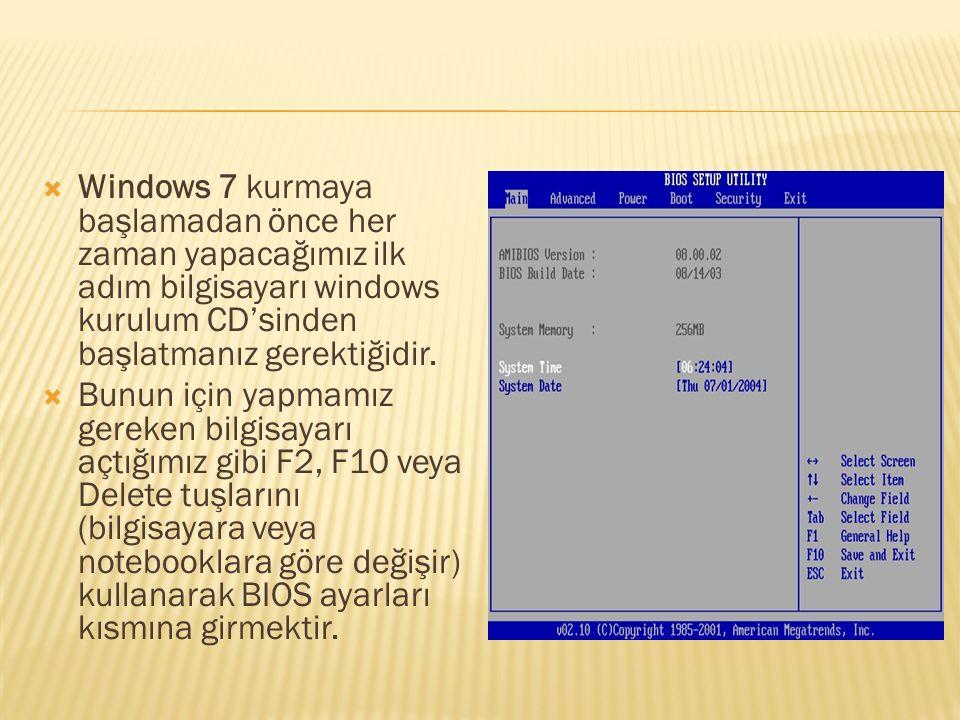  Windows 7 kurmaya başlamadan önce her zaman yapacağımız ilk adım bilgisayarı windows kurulum CD'sinden başlatmanız gerektiğidir.  Bunun için yapmam