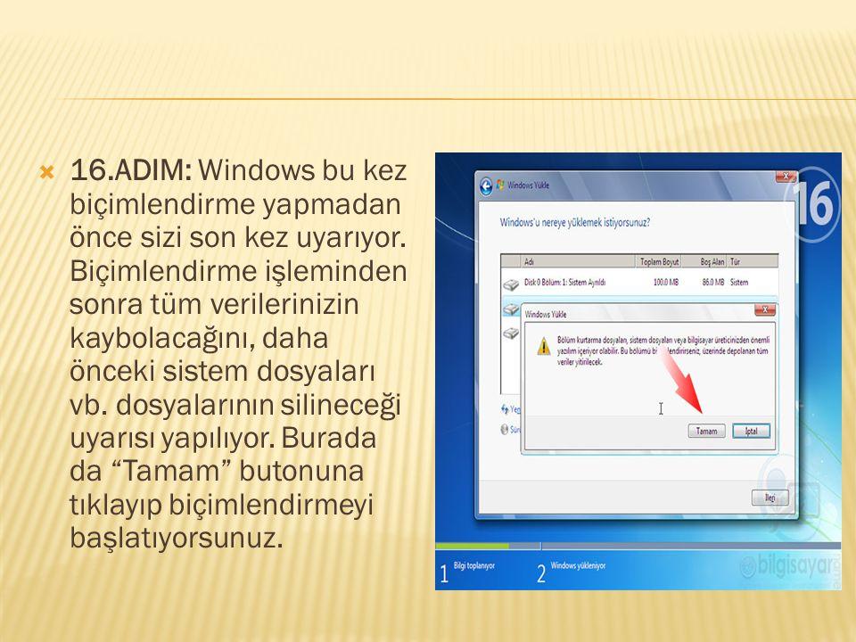  16.ADIM: Windows bu kez biçimlendirme yapmadan önce sizi son kez uyarıyor. Biçimlendirme işleminden sonra tüm verilerinizin kaybolacağını, daha önce