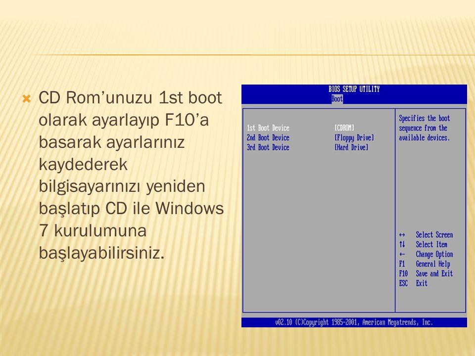  CD Rom'unuzu 1st boot olarak ayarlayıp F10'a basarak ayarlarınız kaydederek bilgisayarınızı yeniden başlatıp CD ile Windows 7 kurulumuna başlayabili