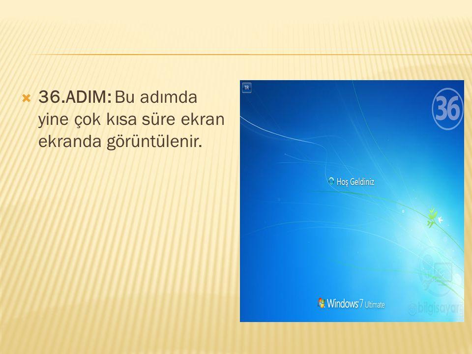  36.ADIM: Bu adımda yine çok kısa süre ekran ekranda görüntülenir.