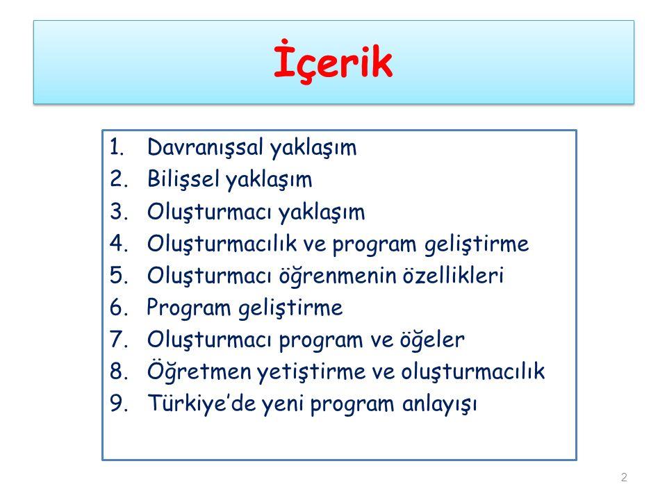 İçerik 1.Davranışsal yaklaşım 2.Bilişsel yaklaşım 3.Oluşturmacı yaklaşım 4.Oluşturmacılık ve program geliştirme 5.Oluşturmacı öğrenmenin özellikleri 6