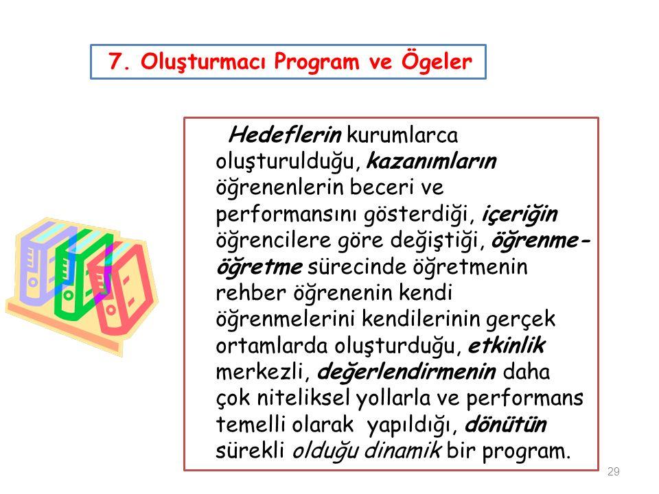 7. Oluşturmacı Program ve Ögeler Hedeflerin kurumlarca oluşturulduğu, kazanımların öğrenenlerin beceri ve performansını gösterdiği, içeriğin öğrencile
