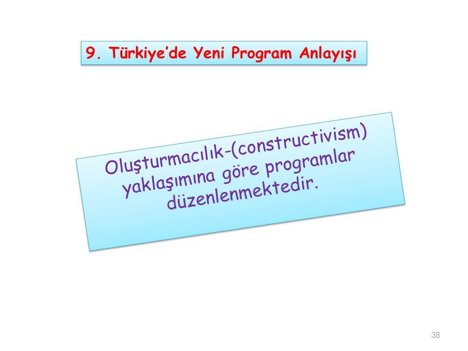 Oluşturmacılık-(constructivism) yaklaşımına göre programlar düzenlenmektedir. 38 9. Türkiye'de Yeni Program Anlayışı