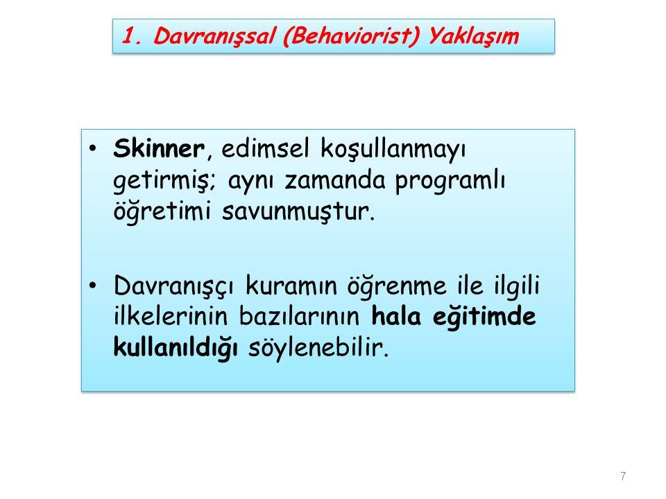 Skinner, edimsel koşullanmayı getirmiş; aynı zamanda programlı öğretimi savunmuştur. Davranışçı kuramın öğrenme ile ilgili ilkelerinin bazılarının hal