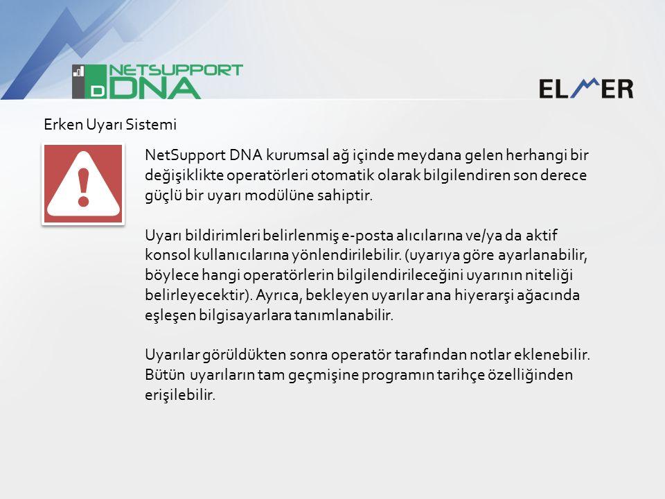 Erken Uyarı Sistemi NetSupport DNA kurumsal ağ içinde meydana gelen herhangi bir değişiklikte operatörleri otomatik olarak bilgilendiren son derece güçlü bir uyarı modülüne sahiptir.