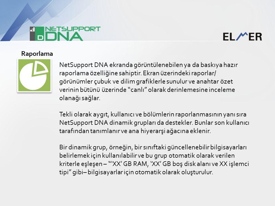 Raporlama NetSupport DNA ekranda görüntülenebilen ya da baskıya hazır raporlama özelliğine sahiptir.
