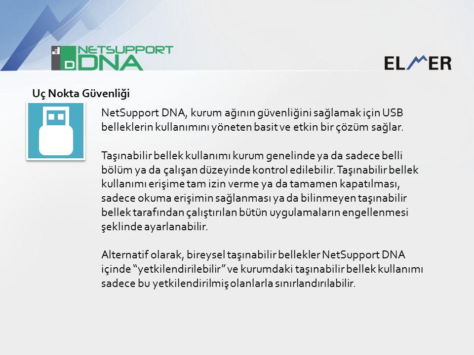 Uç Nokta Güvenliği NetSupport DNA, kurum ağının güvenliğini sağlamak için USB belleklerin kullanımını yöneten basit ve etkin bir çözüm sağlar.