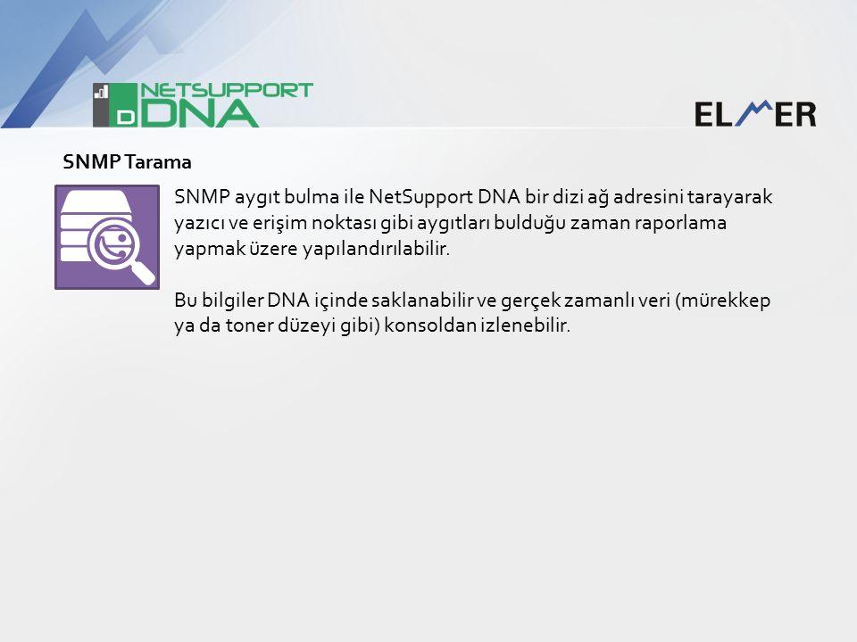 SNMP aygıt bulma ile NetSupport DNA bir dizi ağ adresini tarayarak yazıcı ve erişim noktası gibi aygıtları bulduğu zaman raporlama yapmak üzere yapılandırılabilir.