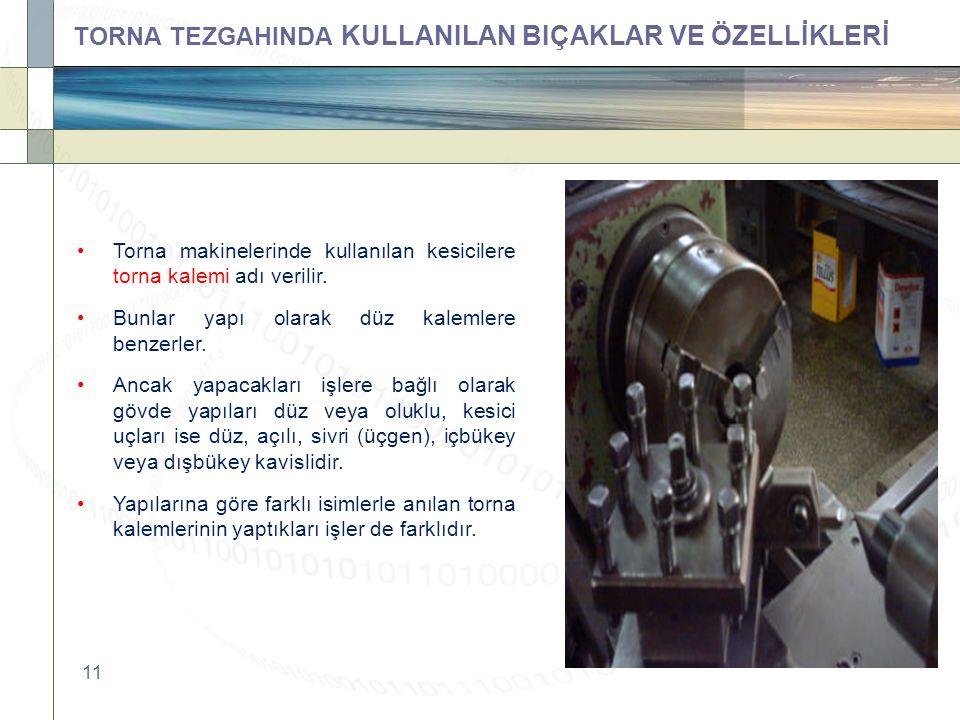 11 Torna makinelerinde kullanılan kesicilere torna kalemi adı verilir.