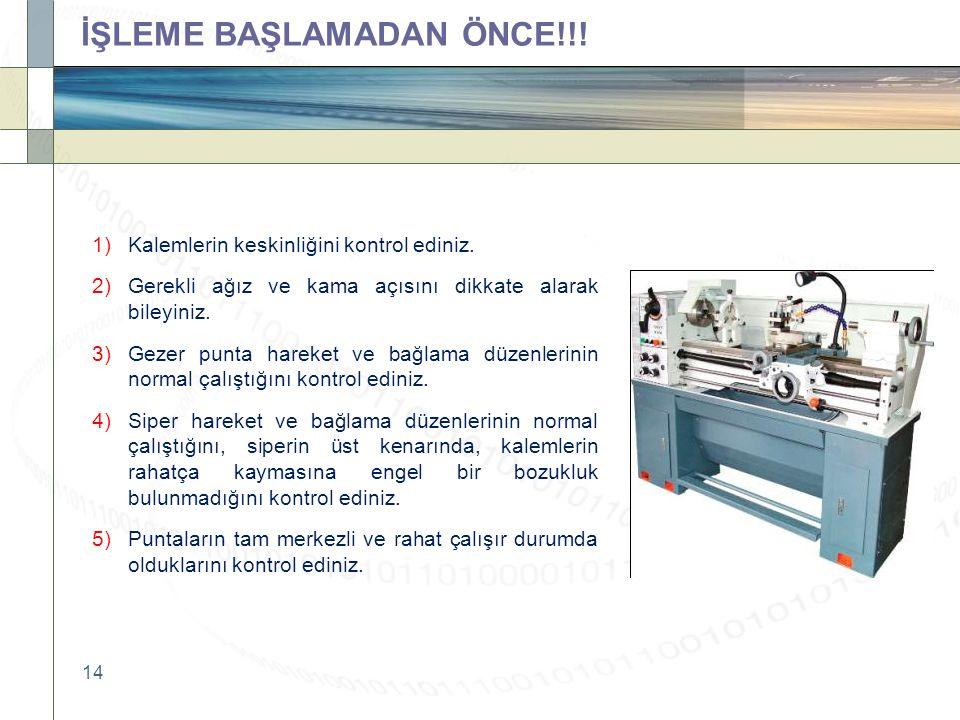 14 İŞLEME BAŞLAMADAN ÖNCE!!. 1)Kalemlerin keskinliğini kontrol ediniz.
