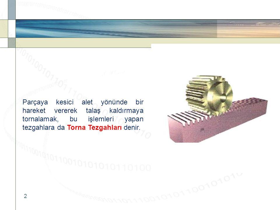 2 Parçaya kesici alet yönünde bir hareket vererek talaş kaldırmaya tornalamak, bu işlemleri yapan tezgahlara da Torna Tezgahları denir.