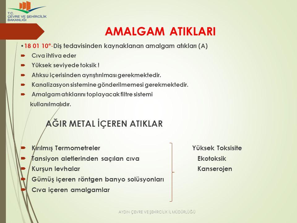 AMALGAM ATIKLARI 18 01 10* - Diş tedavisinden kaynaklanan amalgam atıkları (A)  Cıva ihtiva eder  Yüksek seviyede toksik !  Atıksu içerisinden ayrı