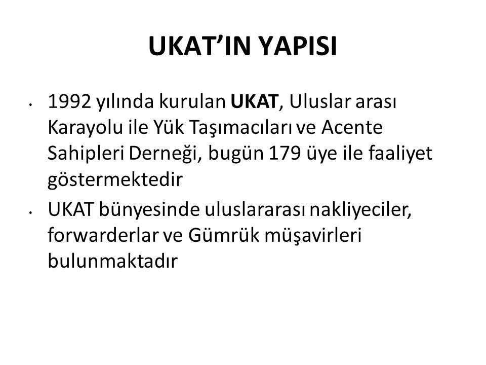 UKAT'IN YAPISI 1992 yılında kurulan UKAT, Uluslar arası Karayolu ile Yük Taşımacıları ve Acente Sahipleri Derneği, bugün 179 üye ile faaliyet göstermektedir UKAT bünyesinde uluslararası nakliyeciler, forwarderlar ve Gümrük müşavirleri bulunmaktadır