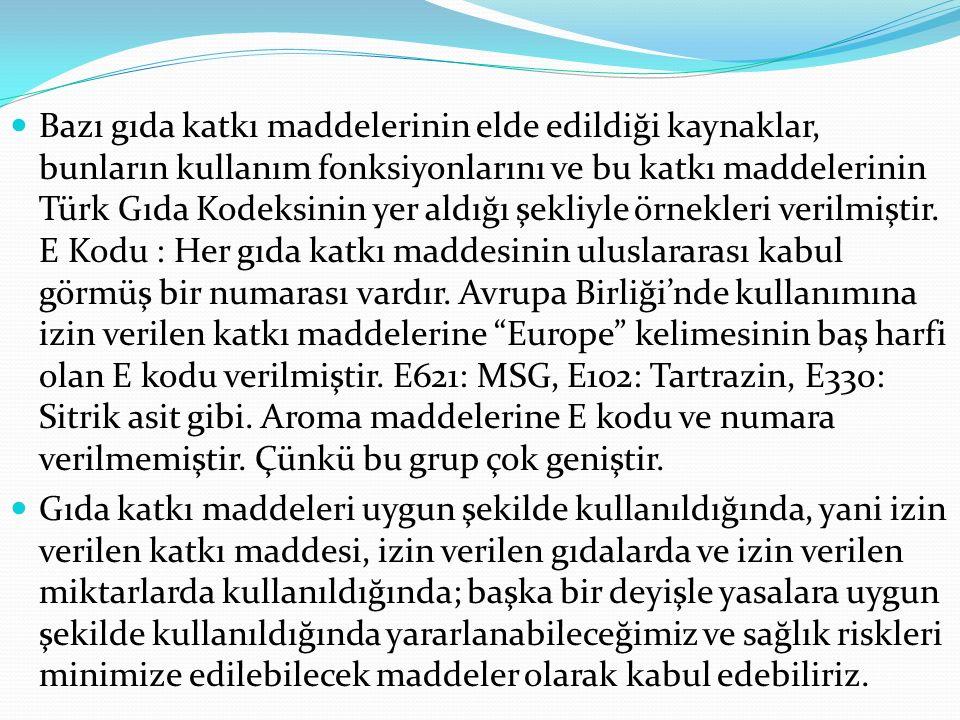 Bazı gıda katkı maddelerinin elde edildiği kaynaklar, bunların kullanım fonksiyonlarını ve bu katkı maddelerinin Türk Gıda Kodeksinin yer aldığı şekli