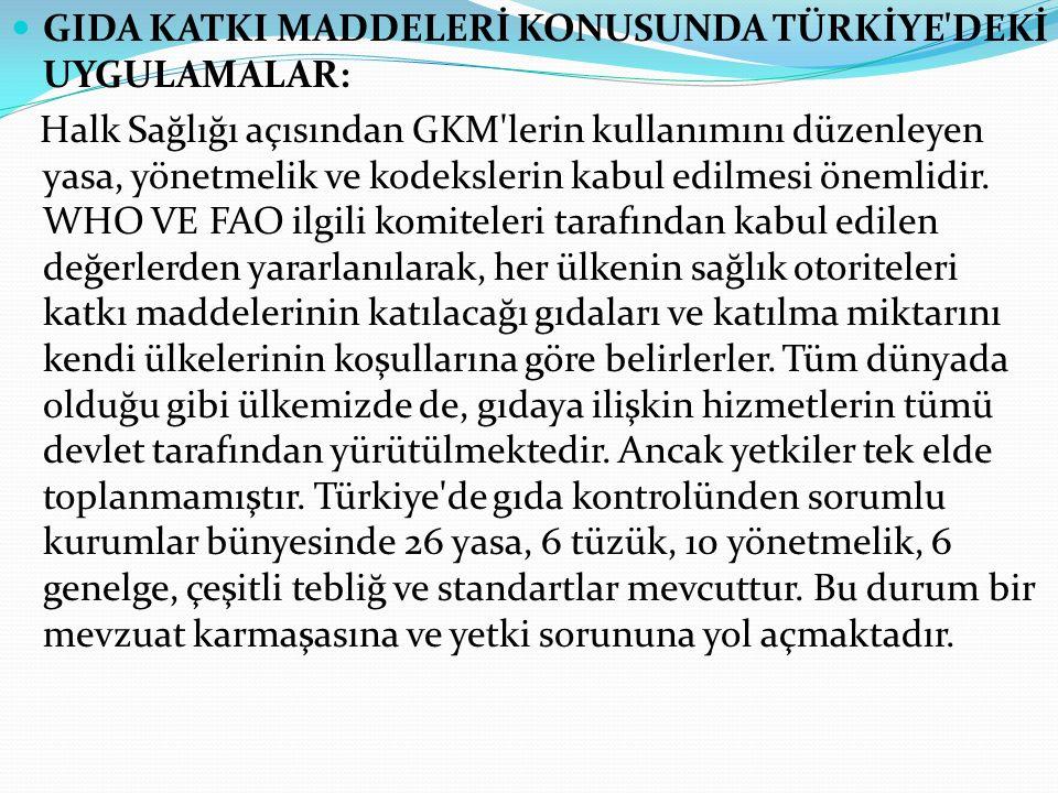 GIDA KATKI MADDELERİ KONUSUNDA TÜRKİYE'DEKİ UYGULAMALAR: Halk Sağlığı açısından GKM'lerin kullanımını düzenleyen yasa, yönetmelik ve kodekslerin kabul
