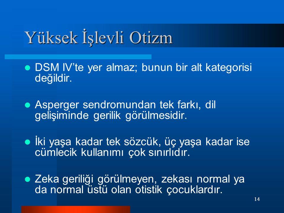 14 Yüksek İşlevli Otizm DSM IV'te yer almaz; bunun bir alt kategorisi değildir. Asperger sendromundan tek farkı, dil gelişiminde gerilik görülmesidir.