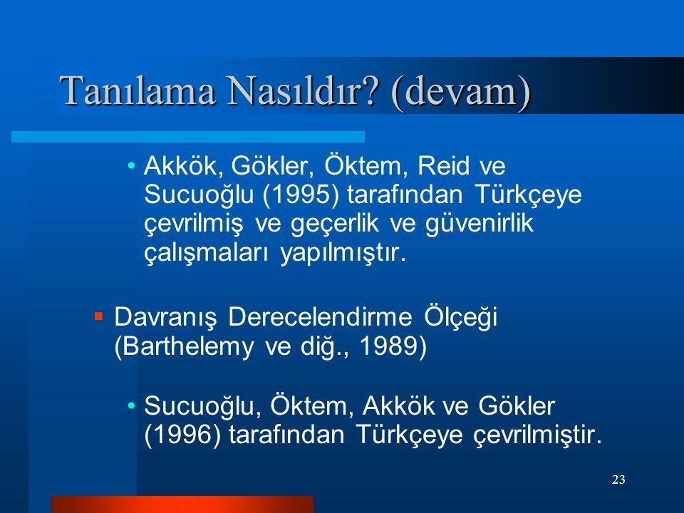 23 Akkök, Gökler, Öktem, Reid ve Sucuoğlu (1995) tarafından Türkçeye çevrilmiş ve geçerlik ve güvenirlik çalışmaları yapılmıştır.  Davranış Derecelen