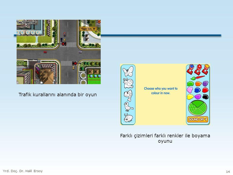 Trafik kurallarını alanında bir oyun Farklı çizimleri farklı renkler ile boyama oyunu Yrd.