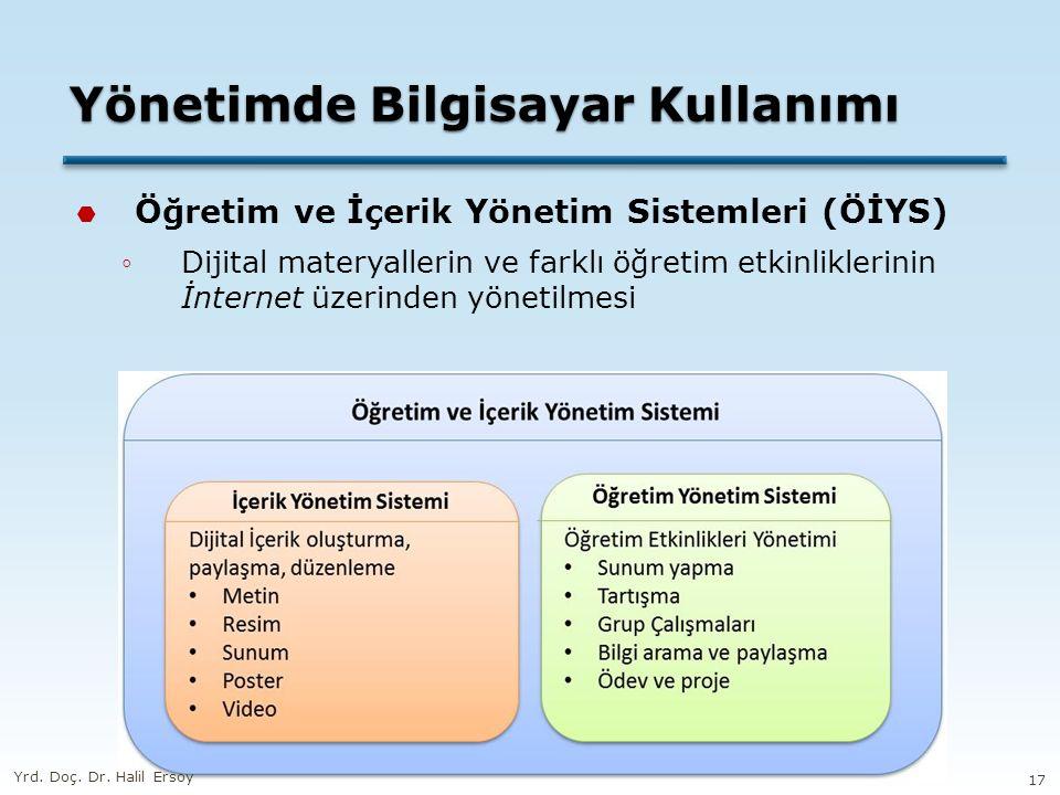 Yönetimde Bilgisayar Kullanımı  Öğretim ve İçerik Yönetim Sistemleri (ÖİYS) ◦Dijital materyallerin ve farklı öğretim etkinliklerinin İnternet üzerind