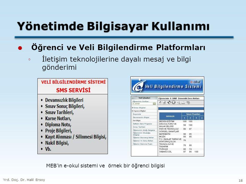 Yönetimde Bilgisayar Kullanımı  Öğrenci ve Veli Bilgilendirme Platformları ◦İletişim teknolojilerine dayalı mesaj ve bilgi gönderimi MEB in e-okul sistemi ve örnek bir öğrenci bilgisi Yrd.