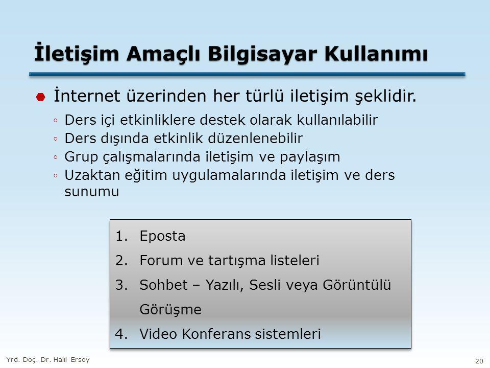 İletişim Amaçlı Bilgisayar Kullanımı  İnternet üzerinden her türlü iletişim şeklidir. ◦Ders içi etkinliklere destek olarak kullanılabilir ◦Ders dışın