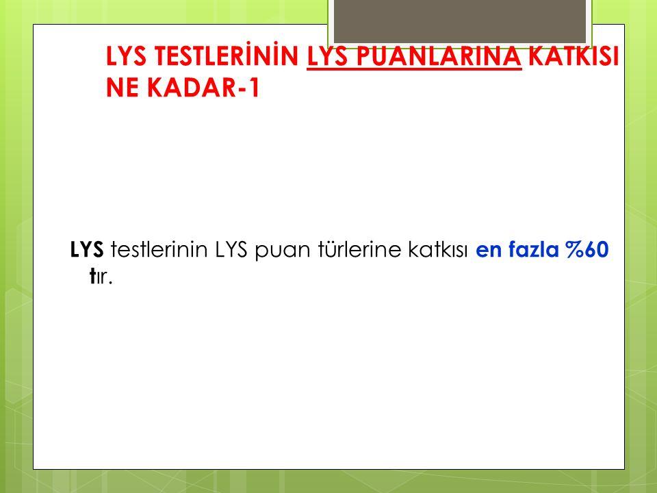LYS TESTLERİNİN LYS PUANLARINA KATKISI NE KADAR-1 LYS testlerinin LYS puan türlerine katkısı en fazla %60 t ır.