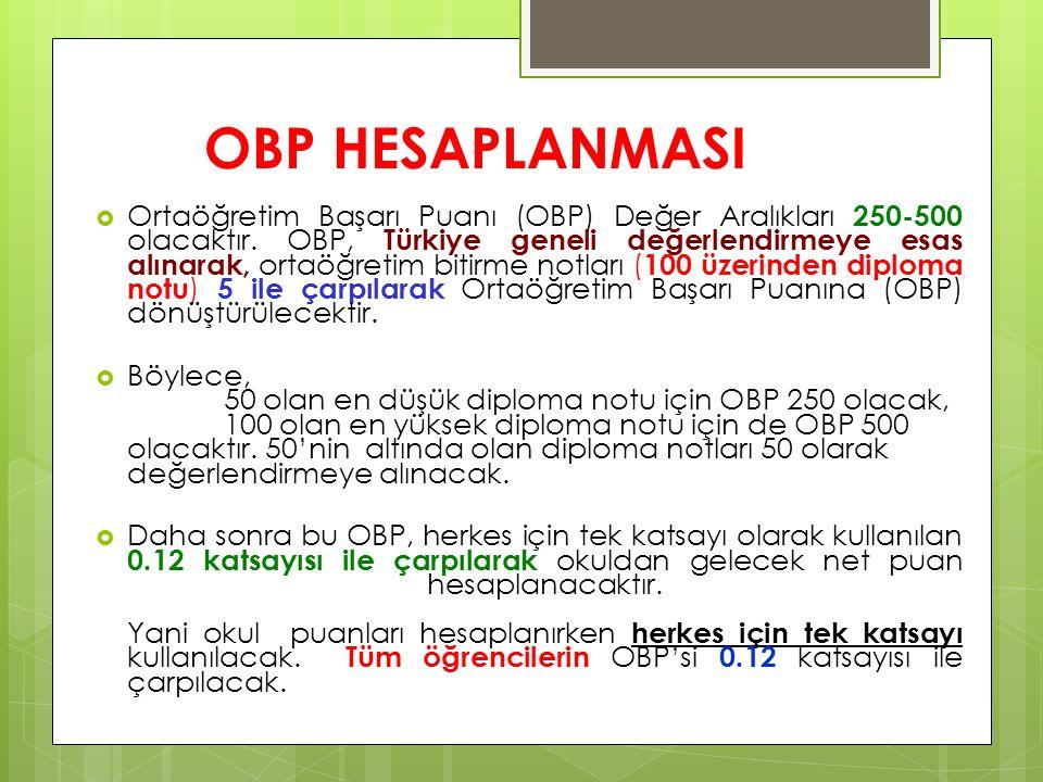 OBP HESAPLANMASI  Ortaöğretim Başarı Puanı (OBP) Değer Aralıkları 250-500 olacaktır. OBP, Türkiye geneli değerlendirmeye esas alınarak, ortaöğretim b