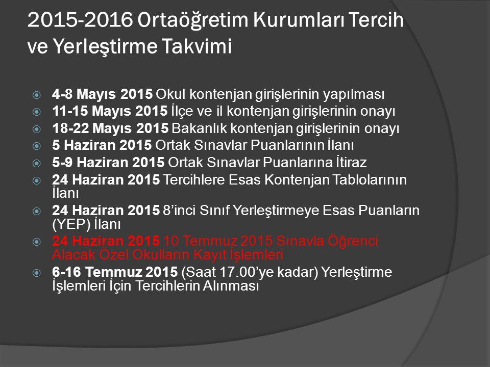  14 Ağustos 2015 Yerleştirme Sonuçlarının İlanı ve Kesin Kayıt  14 Ağustos 2015 Boş Kontenjanların İlan Edilmesi  17-21 Ağustos 2015 İl/İlçe Öğrenci Yerleştirme ve Nakil Komisyonlarınca Tercih Başvuruların Alınması  24 Ağustos 2015 Öğrenci Yerleştirme ve Nakil Komisyonları Yerleştirme Sonuçlarının İlanı ve Kesin Kayıt  24 Ağustos 2015 Yerleşemeyen Öğrencilerin Açık Öğretim Kurumlarına Kayıtlarının Yapılması  14 Eylül 2015 2015-2016 Öğretim Yılı Açılışı  -Tercih sayısı 25 olacak