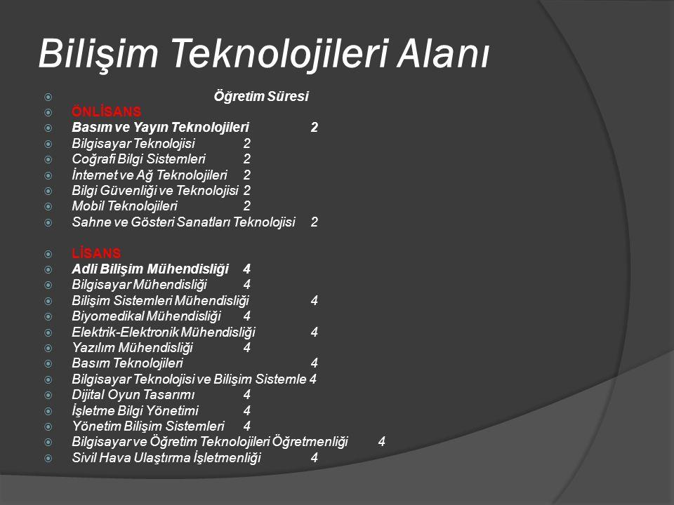 Bilişim Teknolojileri Alanı  Öğretim Süresi  ÖNLİSANS  Basım ve Yayın Teknolojileri 2  Bilgisayar Teknolojisi 2  Coğrafi Bilgi Sistemleri 2  İnt