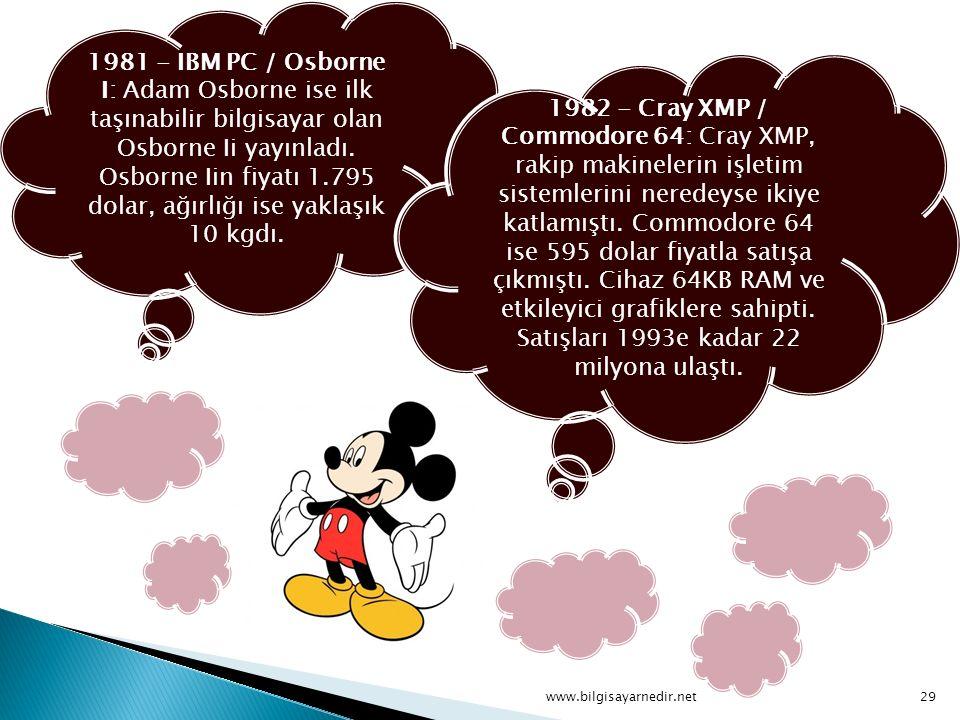 1981 - IBM PC / Osborne I: Adam Osborne ise ilk taşınabilir bilgisayar olan Osborne Ii yayınladı. Osborne Iin fiyatı 1.795 dolar, ağırlığı ise yaklaşı