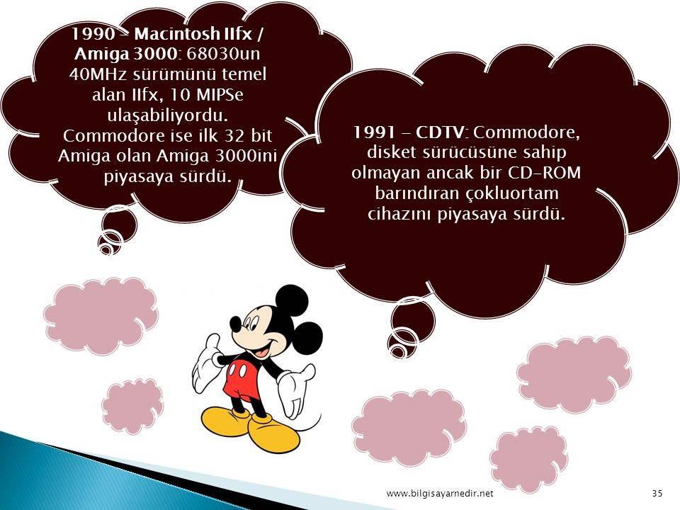 1990 - Macintosh IIfx / Amiga 3000: 68030un 40MHz sürümünü temel alan IIfx, 10 MIPSe ulaşabiliyordu. Commodore ise ilk 32 bit Amiga olan Amiga 3000ini